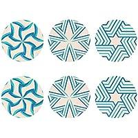 HUGS IDEA - Juego de 6 posavasos de color turquesa para hogar o cocina, absorción