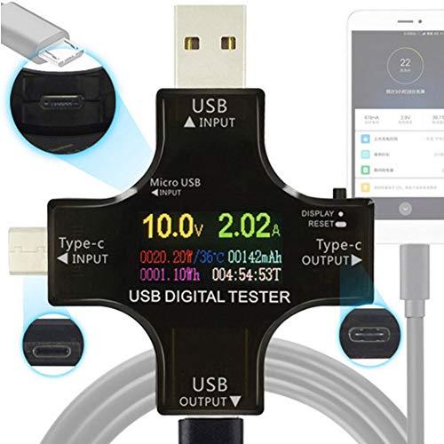 Milnnare Typ-C-PD-USB-Tester Digitaler Voltmeter Amperemeter Spannungsprüfer - Schwarz Quick Adapt-led
