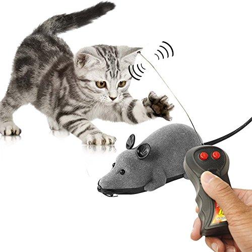 Mallalah Télécommande Jouet De Souris à Batterie sans Fil Télécommande Rat pour Chat Électrique Créatif Rembourrées à l'herbe à Chat Gris