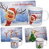 2 TLG. Set: Unterlage + Henkeltasse - Rentiere & Weihnachten - Tasse - Weihnachtstasse - Kaffeetasse Tischunterlage - 44 cm * 29 cm - abwischbar & abwaschbar ..