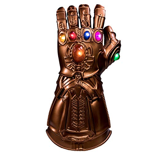 BIRDEU Thanos Gauntlet Infinity Gauntlet Handschuh mit LED Film Spielzeug für Erwachsene Herren Kleidungs Party (Iron Mann Kostüm Leuchten)