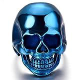 Adisaer Ring Silber Antik Ring Männer Rocker Punk Silber Blau Schädel Toten Kopf mit Herz Nase Ring Größe 65 (20.7) Gothic Bandringring Valentinstag Valentinstag Ring Für Sohn