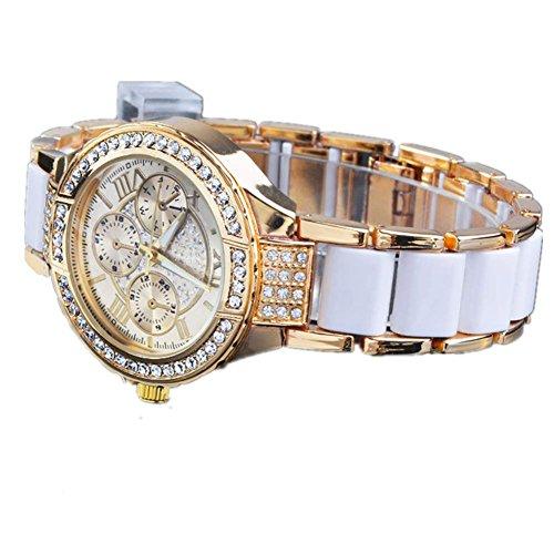 Zeagoo Vintage Analog Silber Gold Damen Quarz-Armbanduhr Sommer
