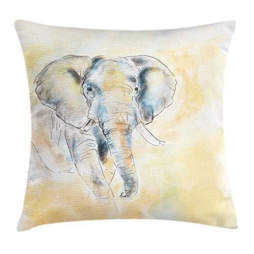 Zhengzho Funda de cojín Almohada Elefante Acuarela Ilustración de Estilo Criatura Salvaje Safari Exótica Decoración de Vida silvestreDecor Square Pillowcase 45x45 cm,Crema Gris