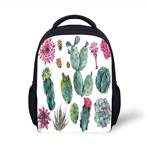 Kids School Backpack Nature Decor,Desert Botanic Herbal Cartoon Like Cactus Plant Flower with Spikes Print,Green and Pink Plain Bookbag Travel Daypack