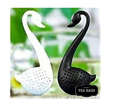 TEA-BAGZ/ Lot de 2 Infuseurs de Thé en forme de Cygne Noir et Blanc/ Idéal pour une infusion Bio/Tisane/Thé vert,/ Thé noir/ Accessoires Home et Cuisine/ Diffuseur à Thé Original/ Diffuseur à Thé de Haute Qualité / Diffuseur de thé 100% silicone/ Infuseur