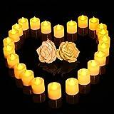 lederTEK 24 Paquetes de Energía Batería de Colores Parpadeantes Eléctricos Té Velas Luces, la Lámpara LED Decorativo para la Boda, Día de la Fiesta de la Decoración, Iluminación Exterior, Cenar, Jardín(24 paquetes Amarillo)