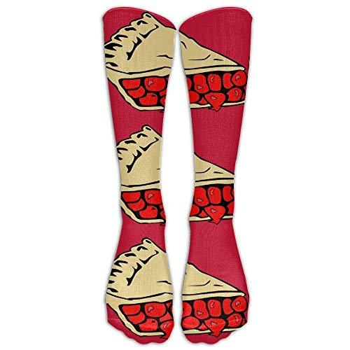 s Novelty Slice Cherry Pie Long Sock Athletic Calf High Crew Soccer Socks Sports ()