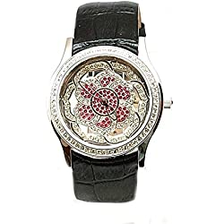 Exposed Time Swarovski Set Leather Strap Ladies Fashion Watch WA058206