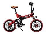 Rich Bit® RT 730 Electric Bike eBike Klapprad 250 W * 48 V 8 Ah LG Akku 7Speed 7 Gängen ausgestattet Handy-Ladegerät und Halter Dual Mechanische Bremse, 50,8 cm Rad City Pendeln Bike Shimano Umwerfer Lange dauert, New Fashion Malerei rot