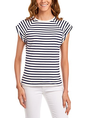 Oodji ultra donna t-shirt in cotone basic, bianco, it 38/eu 34/xxs