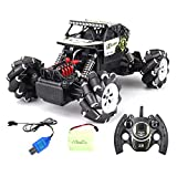Fiaoen Remote Control Car 2.4GHz 4WD Off-Road Vehicle Rechargeable Battery Stunt Car Drift Orrente with Light skilful