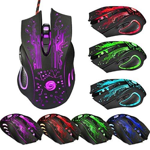 Bekia 6Button 5500DPI LED optische USB Wired Gaming Pro Maus Mäuse für PC Laptop