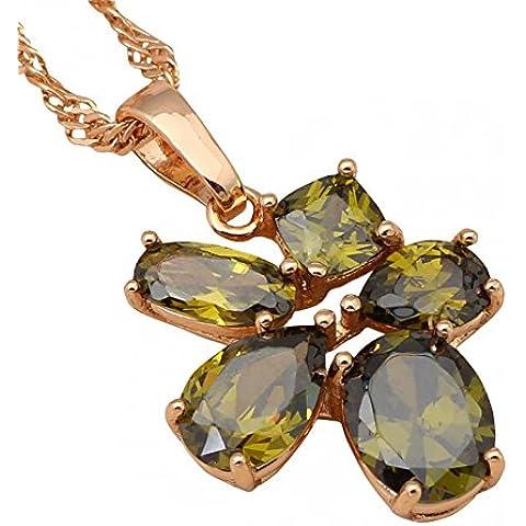 Moda Bling nacklace Bellissimo Cristallo Verde Fashion Jewelry placcato in oro giallo 18K collane ciondoli