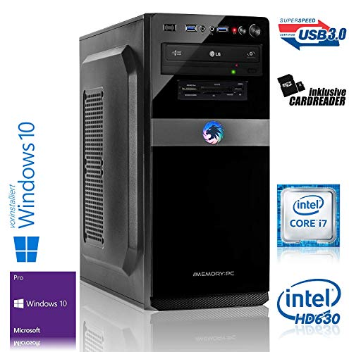 Memory PC Intel i7-7700K 4X 4.2 GHz, 32 GB DDR4, 480 GB SSD + 2000 HDD, Intel HD 630 Grafik 4K, Windows 10 Pro 64bit