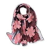 YFZYT Organza-Schal für Damen mit Feder Stickerei Muster/Elegantes Accessoire für Frauen/Organza-Schal/Halstuch/Schulter-Tuch/Schal Chiffon Stola Scarves - Pinke Blume