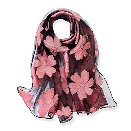 YFZYT Seiden-Schal für Damen mit Feder Stickerei Muster/Elegantes Accessoire für...