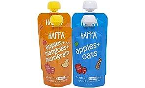 Happa Organic Baby Food Puree, Grain and Fruit Blend, (Apple + Oats Puree, Apple, Mango & Multigrain Puree) 6 Month+, Stage-2, Pack of 4