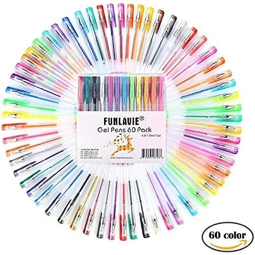 galeria de dibujos kawaii Bolígrafos Multicolores de Tinta Gel para Colorear Dibujar Escribir Diseñado para Adultos / Niños Paquete de 60 FUNLAVIE