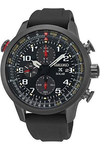 Seiko ssc371p1, Herren Solar, Militär-Stil, Silikonband, Alarm Chronograph, 100m WR, - Seiko Uhr Militär Herren