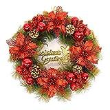 Kransen Kroon van Kerstmis herfst en winter Deur Opknoping Wreath Gold Artificial Wreath Deur van het Huis en Raamdecoratie slingers (Color : Red, Size : 40cm)