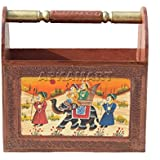 APKAMART Wooden Handcrafted Newspaper and Magazine Decorative Stand Showpiece Cum Book Holder (Multicolour, 12-inch Height)