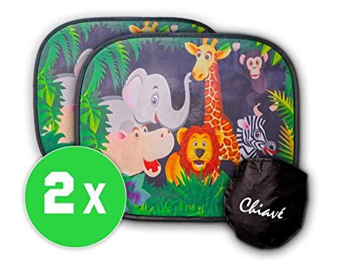 Chiavé Auto Sonnenschutz für Baby mit UV Schutz - selbsthaftend   44 x36cm  [2 Stück] incl. Tasche - spaßiges Tiermotiv für Kinder