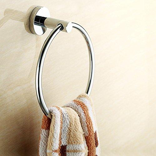 Amzdeal Handtuchringe wandmontierte Handtuchring Bad Zubehör aus Edelstahl und verchromten Kupfer, 18x8x20cm, silbrig