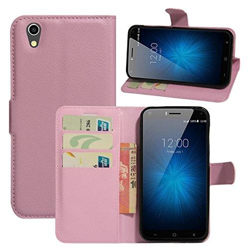 HualuBro UMIDIGI London Hülle, [All Aro& Schutz] Premium PU Leder Leather Wallet Handy Tasche Schutzhülle Case Flip Cover mit Karten Slot für UMIDIGI London 5.0 Inch 3G Smartphone (Pink)