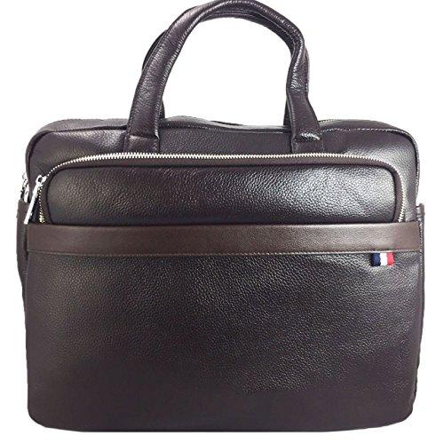 Luxus Premium Laptoptasche für Dell Latitude 12 E7250-WMDYN Businesstasche / Aktentasche / Notebooktasche mit Schultergurt aus echtem Leder - LB Dark Braun 1