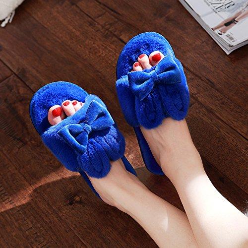 DogHaccd pantofole,In inverno il cotone pantofole cartoon femmina incantevole spessi e morbidi coppie interni home pantofole inverno Home Blu zaffiro2