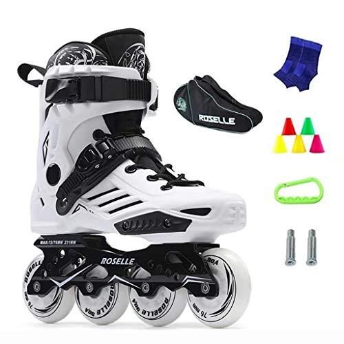 LRR Inline-Skates, Erwachsener professionelles einreihiges Skates, Eiskunstlauf, 2 Farben (Color : White, Size : EU38)