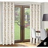 140x245 cm creme Elfenbein ecru Vorhang Vorhänge Blickdicht Fensterdekoration Gardine Ösenschal Blumenmuster cream ivory GARDEN
