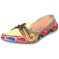 Footrendz Women Embroided Synthetic Leather Loafer