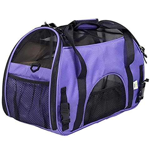 Pet Carrier Sac de chien chien de concepteur porteur Sacs moyen Dog versez chiot Sac de transport Carriers Chats Sac verser Pet (violet, M: 48 * 24 * 32cm)