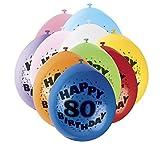 Unique Party - 80318 - Ballons Gonflables - Happy 80th Birthday - Latex - 23 cm - Coloris Aléatoire