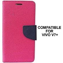BRAND FUSON Mercury Goospery Fancy Diary Wallet Flip Case Cover for VIVO V7 PLUS - Pink
