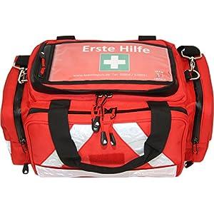 Erste Hilfe Tasche – Notfalltasche PKW, Freizeit und Veranstaltung aus Nylon mit Waterstop Reißverschluss und Hals-Wirbelsäulen-Stützkragen Stifneck