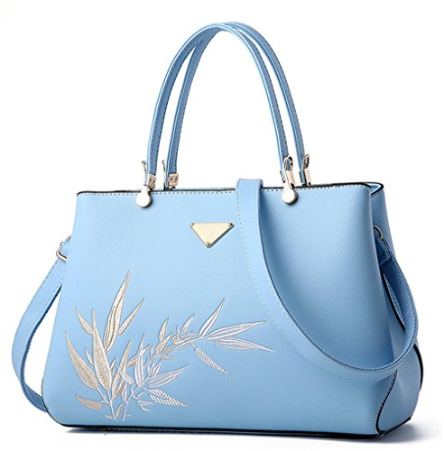 Xinmaoyuan Borse donna ricamo Lady Borsa tracolla a doppia sacca tuta Blu chiaro