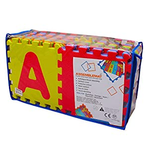 Assemblemat® - 36 piece Soft Numbers and Alphabet Play Mats with edging - Interlocking Foam Mat For Children - Activity Puzzle Playmats - Floor Protection - EVA Foam Rubber Numbers Mat - 0 - 9 and Alphabet mats A-Z = 36 Tiles in total in carry bag. from