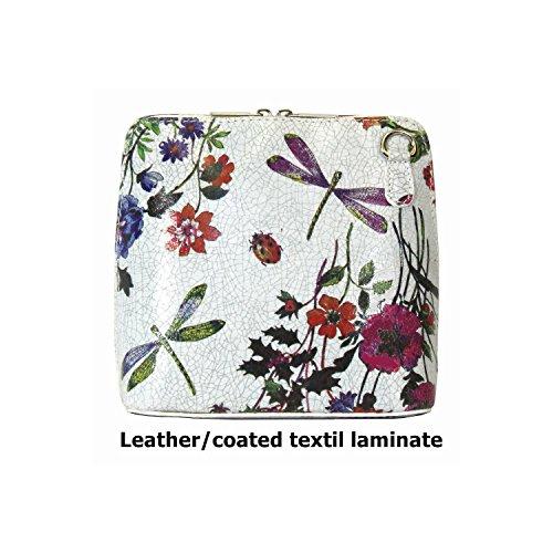 Vera Pelle Italiana Piccolo Croce Corpo Borsa o borsa a tracolla Purple Small Flower Grey