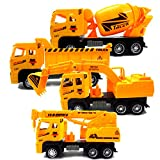#4: Party Propz  Construction Vehicles, Assorted Trucks Mini Car Toy, Friction Powered Push & Play Engineering Vehicles for Age 1 Years and up Boys and Girls as Gift (Set of 4)
