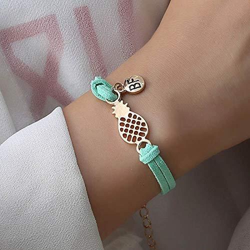 Imagen de strass & paillettes pulsera de gamuza sintética verde turquesa con una piña dorada y una medalla bf. pulsera de piña best friend. pulsera para su mejor amiga alternativa