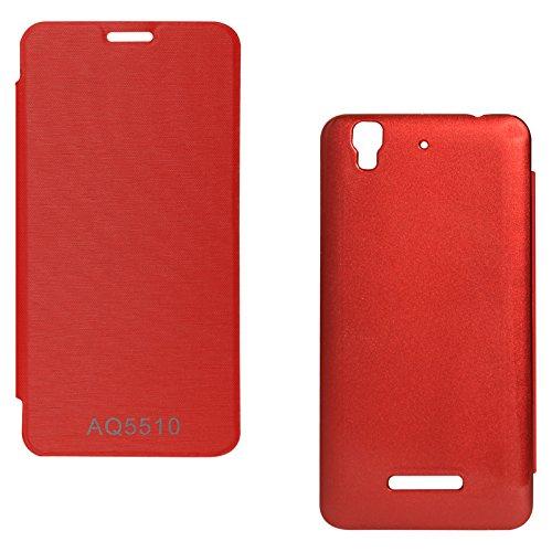 DMG Premium Hot Pressed PU Leather Flip Cover Case for Micromax Yureka Yu AQ5510 (Red)