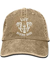 Aoliaoyudonggha Life Behind Bars Motorcycle Biker Washed Retro Adjustable  Jeans Caps Hiking Caps for Male Female 2e84faa6a17