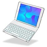 iEGrow iPad 2017 9.7 Tastatur Hülle Keybord Case, F8S 7 Farben LED-Hintergrundbeleuchtung Tastatur mit Schützend Schutzhülle iPad 9.7-inch und iPad Air [QWERTZ deutsches Tastaturlayout] Silber