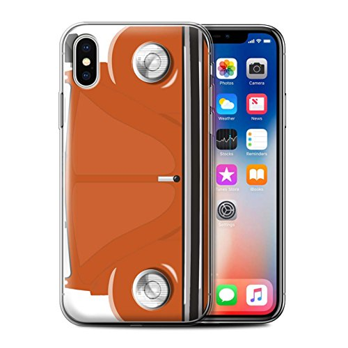 Stuff4 Gel TPU Hülle / Case für Apple iPhone X/10 / Rallye Gelb Muster / Retro Beetle Kollektion Leuchtend Orange