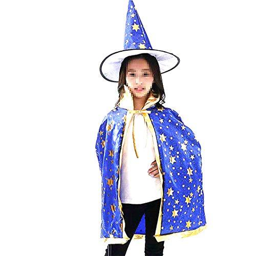 Cappello da strega di Halloween per bambini Mago Mantello con il cappello per i bambini Bambini delle ragazze dei ragazzi (blu, 1Set)