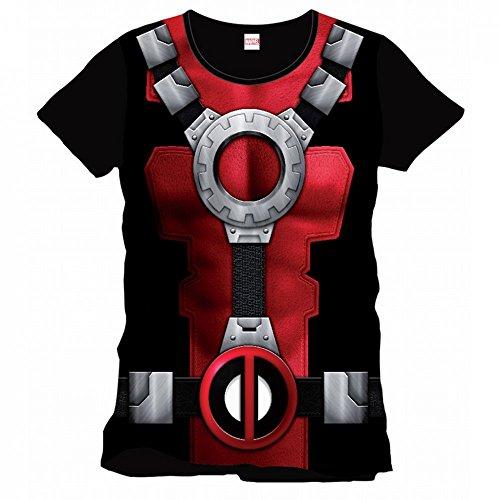 Marvel Comics Deadpool Herren T-Shirt - Armour Costume Schwarz