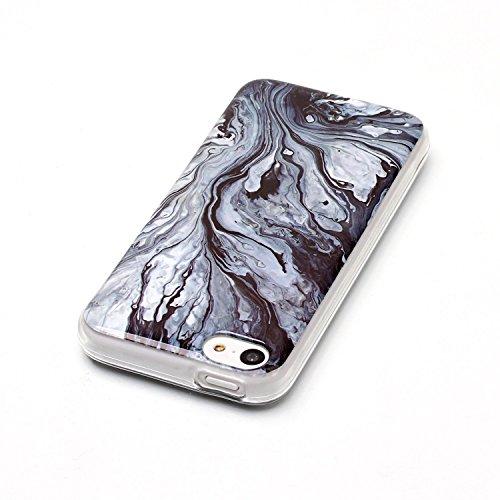 iPhone 5C Hülle Silikon, LuckyW TPU Marmor Handyhülle für Apple iPhone 5C Soft Silikon Tasche Transparent Schale Clear Klar Hanytasche Durchsichtig Rückschale Ultra Slim Thin Dünne Schutzhülle Weiche  Schwarz 1